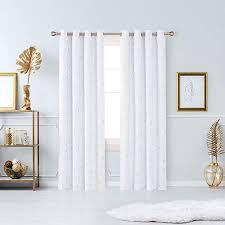 deconovo verdunkelungsgardinen gold zweig ösen vorhänge blickdicht gardinen schlafzimmer 240x140 cm grau weiß 2er set