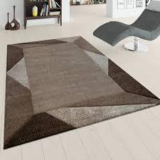 teppich wohnzimmer kurzflor braun beige weich 3 d effekt dreieck design bordüre