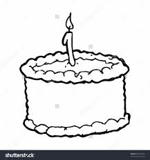 Drawing A Birthday Cake Drawing A Birthday Cake With Candle Stock Vector Illustration