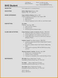 High School Resume Sample New Templates For Highschool Students Of
