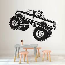 100 Monster Truck Decals Vinyl Dinding Seni Mural Dinding Stiker Dekoratif Untuk Boy