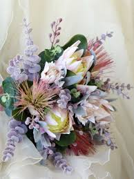 Rustic Bouquet Wedding Of Native Flowers Proteas Blushing Bride Australian