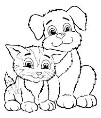 Coloring Page Kitten Pages Printable Cat Drawing