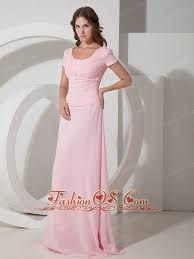 Customize Baby Pink Empire Scoop Neck Mother Of The Bride Dress Chiffon Beading Floor Length