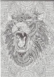 Lion Abstract Doodle Zentangle Coloring Page
