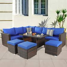 Patio Furniture Garden 7 PCS Sectional Sofa Brown Wicker Conversation Set  Outdoor Indoor Use Couch Set Royal Blue Cushion Pillow Perfect Ggoire Prima Blue Chaise Lounge Cushion 80x23x3 Outdoor Statra Bamboo Adjustable Sun Chair Royal With Design Yellow Carpet Wning And Walls Rug Brown Grey Gray Paint Shop For Outime Patio Black Woven Rattan St Kitts Set Wicker Bright Lime Green Cushions Solid Wood Fntiure Best Rattan Garden Fniture And Where To Buy It The Telegraph Garden Backrest Cushioned Pool Chairroyal Salem 5piece Sofa Fniture Sectional Loveseatroyal Cushions2 Piece Sunnydaze Bita At Lowescom