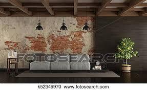 dunkel wohnzimmer in rustikal stil clipart k52349970