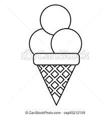 Ice Cream Sweet Sundae Thin Line Vector