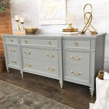 Vintage French Soul Grey Painted Dresser With Gold Hardware