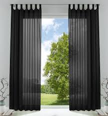 2er pack gardinen transparent vorhang set wohnzimmer voile schlaufenschal mit bleibandabschluß hxb 225x140 cm schwarz 61000cn
