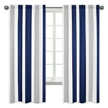 navy gray striped curtain panels sweet jojo designs target