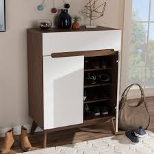 Baxton Studio Shoe Storage by Baxton Studio Calypso Mid Century Modern White And Walnut Wood