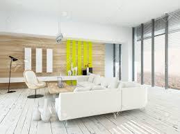 das helle luftige wohnzimmer mit rustikaler einrichtung mit holz furniert wände weiß lackiert dielen moderne weiße sitzgruppe und stuhl gelben