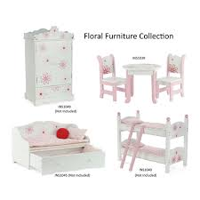 18 Inch Doll Furniture Table and Chairs with Floral Design