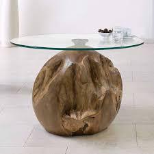 wohnzimmer kugel beistelltisch unikat teakholz tisch mit höhenverstellbarer glasplatte b h ca ø 70 65cm