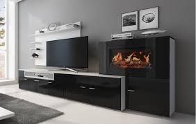 wohnmöbel mit elektrischem kamin weiß mate schwarz lackiert 290x170x45
