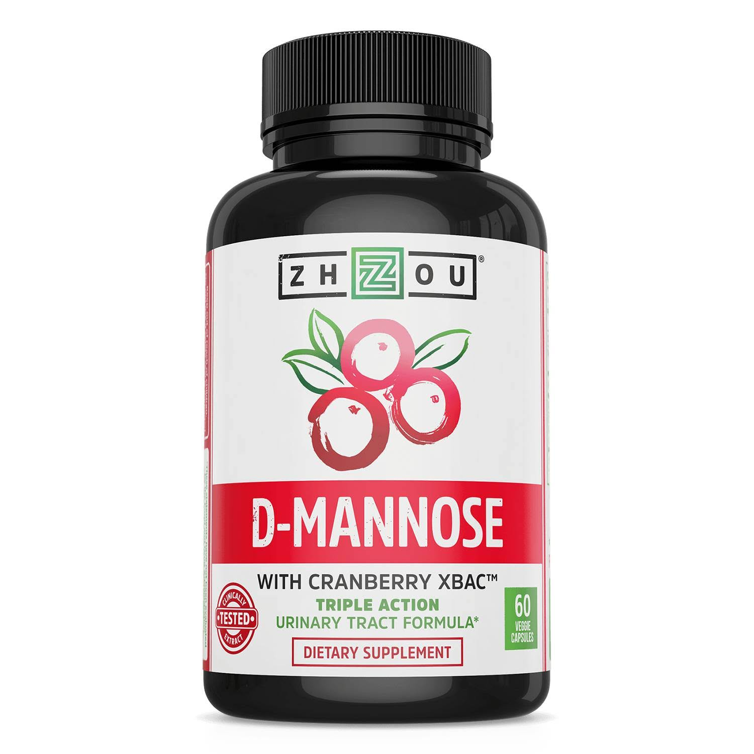 Zhou D-Mannose with Cranberry XBAC Dietary Supplement - 60 Veggie Capsules