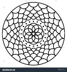 Flower Pattern Coloring Pages Printable Template Page Simple Picture To Color Stock Vector Mandala Book Easy