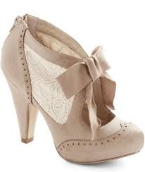 Shoes Cream Now Heels Nude Beige Cute Vintage Wing Tip Boots Ankle Bow