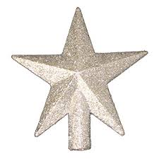 4quot Petite Treasures Silver Glittered Mini Star Christmas Tree Topper