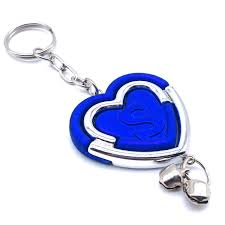 Insasta Initial Letter Keychain In Heart Shape Letter S Blue