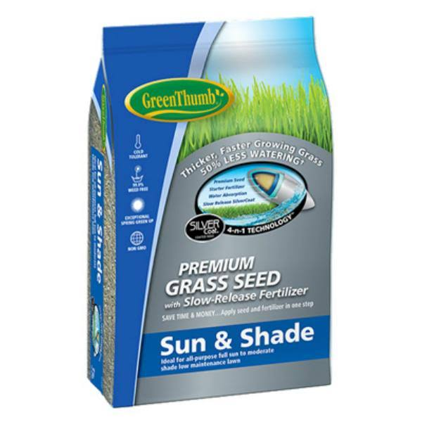 Green Thumb GREUN170 Premium Coated Sun & Shade Grass Seed - 25lbs
