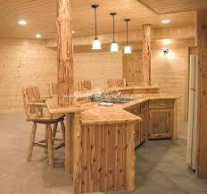 Great Looking Log Bars For Good Times Shared With Friends Amidst Lodge Furniture And Ambiance