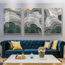 abstrakte grau grün gold folie jährliche ring leinwand kunst moderne marmor poster luxus wand bild für wohnzimmer 3d ort tableau
