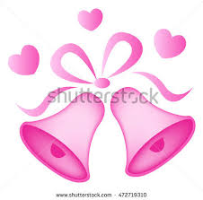 Illustration Of A Elegant Pink Color Wedding Bells With Hearts Isolated N White Background