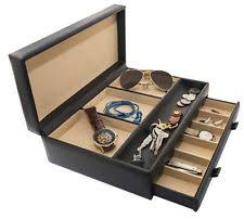 mens dresser jewelry organizer chocolate faux leather top valet