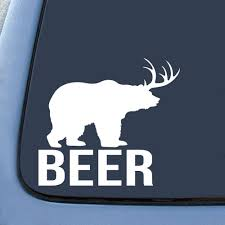 Amazon.com: Bear + Deer = BEER? Funny Sticker Decal Notebook Car ... Kc Vinyl Decals Graphics Signs Banners Custom Nice Buck Browning Deer Hunting Decal Hunter Head With Name Car Commander Sticker Truck Laptop Kayak Etc Family Vinyl Sticker Decal Car Window Decalkits Oh Mrigin Waterfowl For Trucksfunny Trucks For Bigbucklife At Superb We Specialize In Decalsgraphics And Whitetail Buck Hunting Truck Graphic