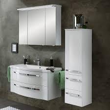 badezimmer spiegelschrank fes 4005 66 hochglanz lack polarweiß mit led kranzbeleuchtung b h t 122 72 2 17 24cm