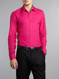 kenzo long sleeven bright poplin shirt in pink for men lyst