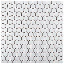 Full Size Of Elitetile Retro X Hex Porcelain Mosaic Tile In White Doll Merola Metro Hexagon