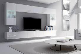 selsey wohnwand wohnzimmer set kirdon groß mit 2 x tv hängeboard 2 x hängevitrinen und 2 x hängeboards weiß matt weiß hochglanz mit led in