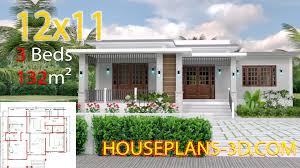 100 Www.homedesigns.com Home Design 12x11 With 3 Bedrooms Terrace Roof