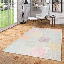 designer teppich pastell bunt karo vintage