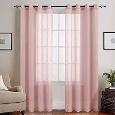 topick voile vorhang mit ösen transparent gardine gaze paarig ösenschals für wohnzimmer schlafzimmer 225 cm x 140 cm 2er set rosa