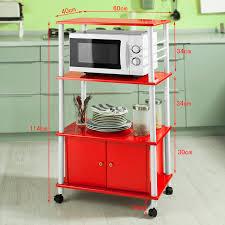 Haotian White Microwave Shelf Kitchen Wheeled Storage Trolley Cabinet 3 Shelves