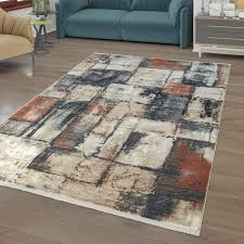 kurzflor teppich bunt mosaik muster