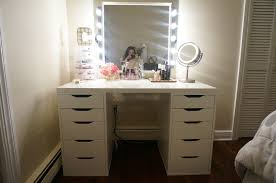 bedroom white clear top makeup vanity table with large lighted