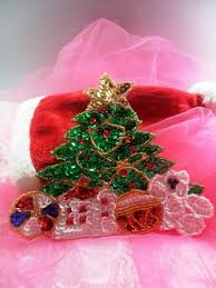JB251 Christmas Tree Applique Beaded Sequin Patch Teddy Bear With Gifts 6