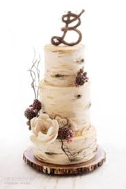 Rustic Cake Birch Tree And Pine Cones Wedding