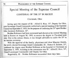 The Special Conferral Of 33d Degree On John J Robinson As Published In Abstract Proceedings Supreme Council Lexington Mass 1993