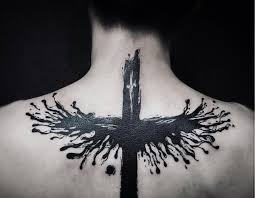 Gothic Black Watercolor Cross Tattoo On The Back