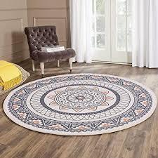 shacos teppich rund 120cm vintage teppiche grau teppich boho draußen baumwollteppich waschbar grau perfekt für wohnzimmer schlafzimmer hotel usw