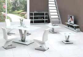 White Table Chairs Architecture V Glass Dining Only Furniture In Fashion With Regard To