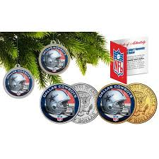 DALLAS COWBOYS Colorized JFK Half Dollar 2 Coin Set NFL Christmas Tree Ornaments
