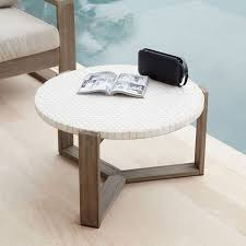 mosaic tiled coffee table white marble west elm
