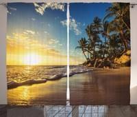 abakuhaus bunt rustikaler vorhang exotischer strand sonnenuntergang wohnzimmer universalband gardinen mit schlaufen und haken 280 x 225 cm multi